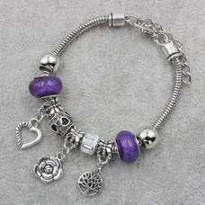 Браслет Пандора фиолетовый с подвеской цветочек (9 бусин)