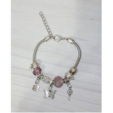 Браслет Пандора розовый с подвеской бабочка (9 бусин)