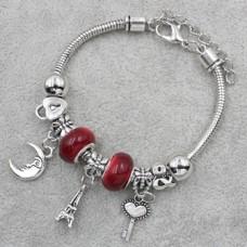 Браслет Пандора красный с подвеской эйфелева башня (9 бусин)