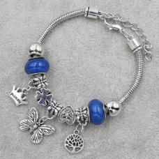 Браслет Пандора синий с подвеской бабочка (9 бусин)