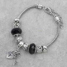 Браслет Пандора черный с подвеской ключик и замок (9 бусин)