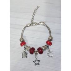 Браслет Пандора красный с подвеской звездочка (9 бусин)